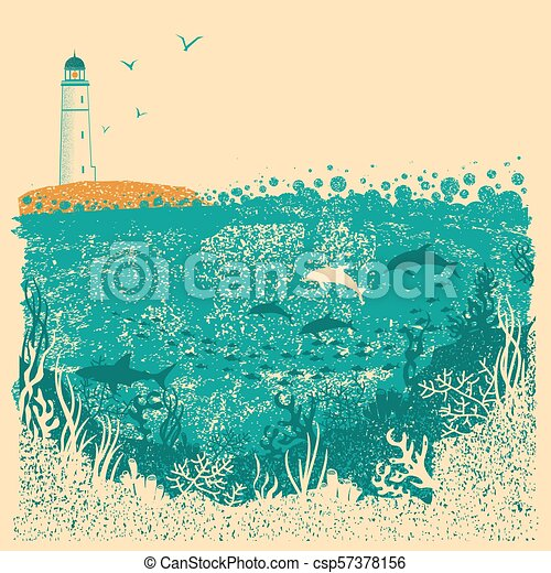 Lighthouse and sea waves with Underwater sea background on old paper texture - csp57378156