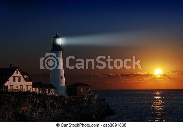 Lighthouse at dawn - csp3691608