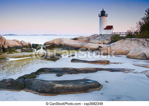 Lighthouse at dawn - csp3682349