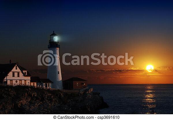Lighthouse at dawn - csp3691610