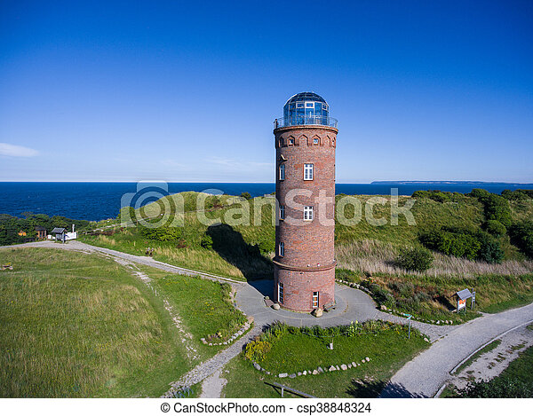 Lighthouse at Kap Arkona, Island of Ruegen, Germany Peilturm - csp38848324