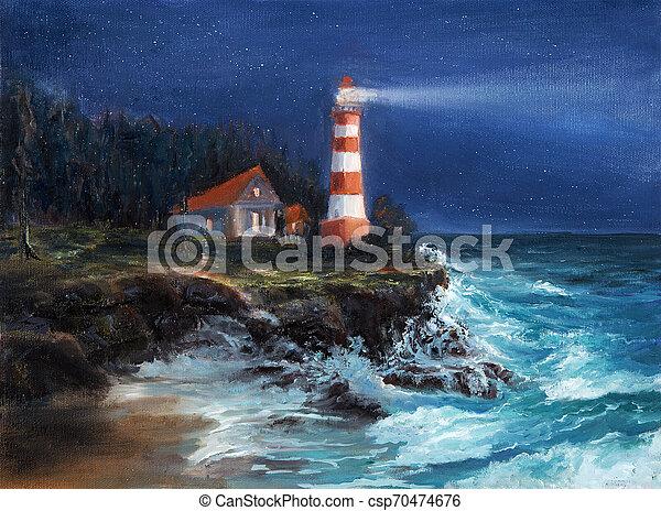 Lighthouse at night - csp70474676