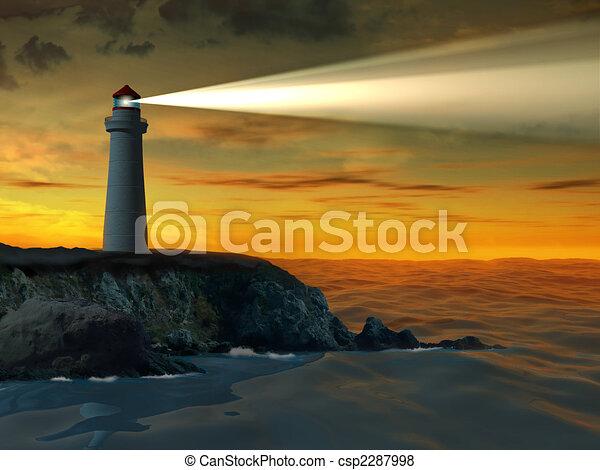 Lighthouse at sunset - csp2287998