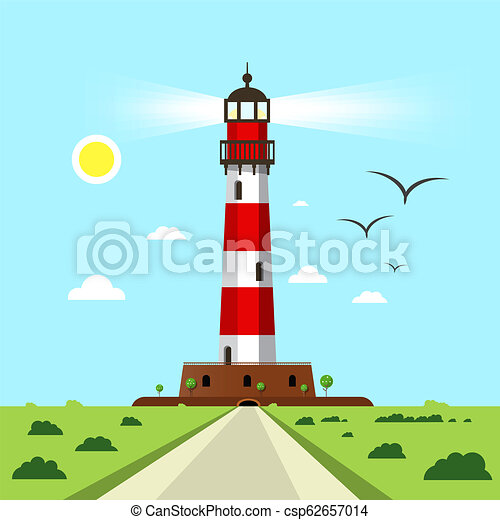 Lighthouse  - Beacon Vector Illustration with Landscape - csp62657014