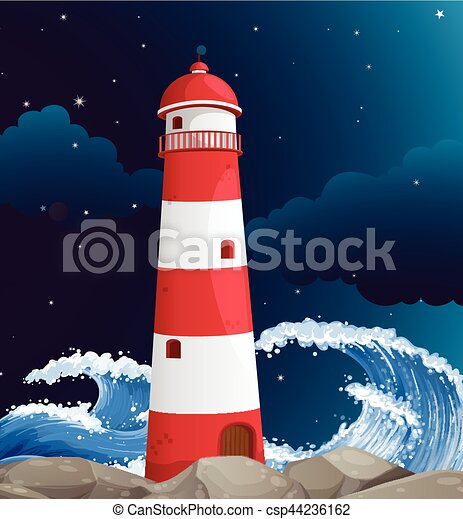 Lighthouse building on the coast - csp44236162