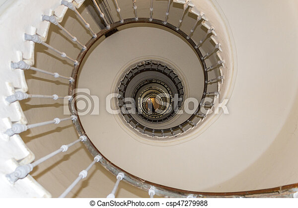 Lighthouse El Aank spiral staircase, abstract detail. Casablanca. - csp47279988
