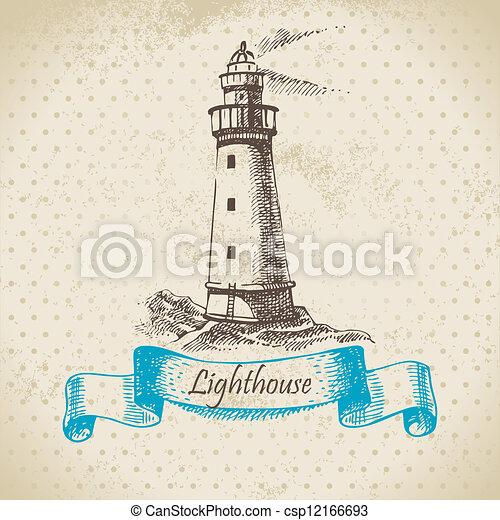 Lighthouse. Hand drawn illustration - csp12166693