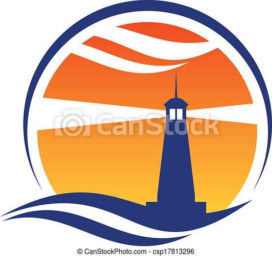 Lighthouse icon at sunset - csp17813296