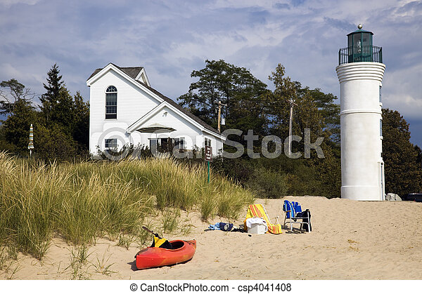 Lighthouse in Empire, Michigan, USA. - csp4041408