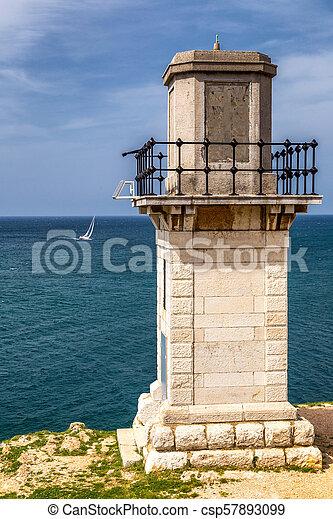 Lighthouse in Rovinj on Adriatic sea in Croatia, Europe. - csp57893099