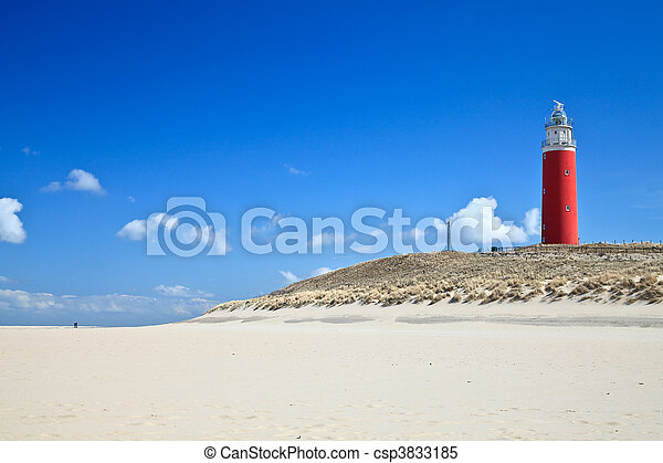 Lighthouse in the dunes at the beach - csp3833185