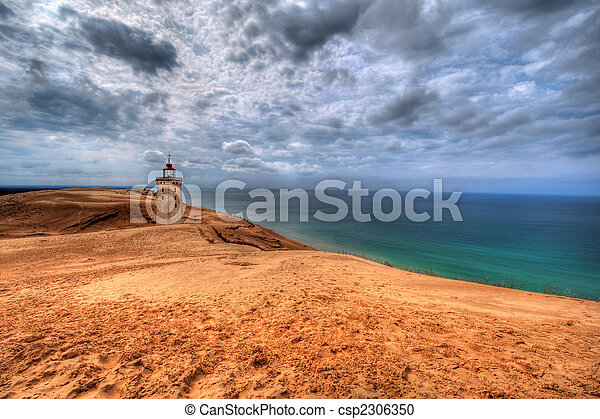 Lighthouse in the sand dunes of Rubjerg Knud - csp2306350