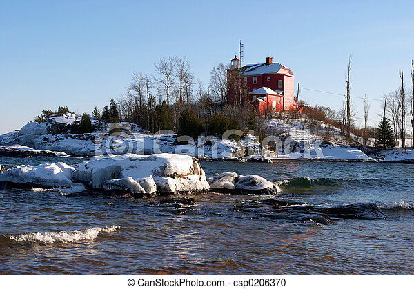 Lighthouse in Winter - csp0206370