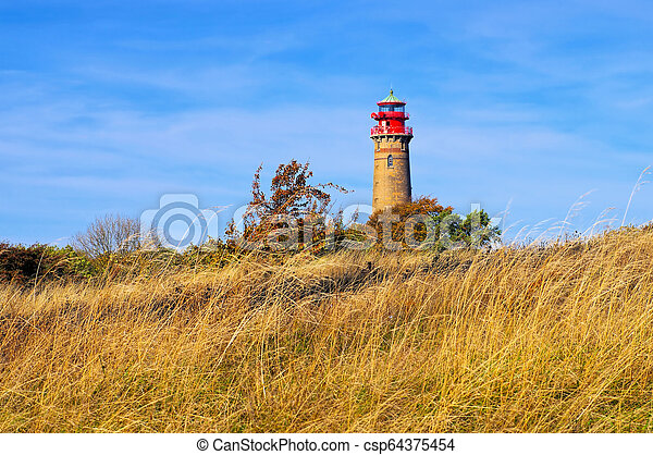 lighthouse Kap Arkona, Ruegen Island in Germany - csp64375454