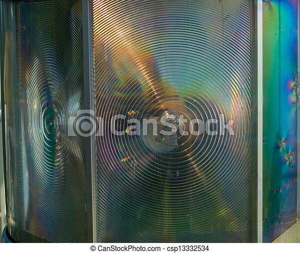 Lighthouse Lens as an Abstract Colorful Background - csp13332534