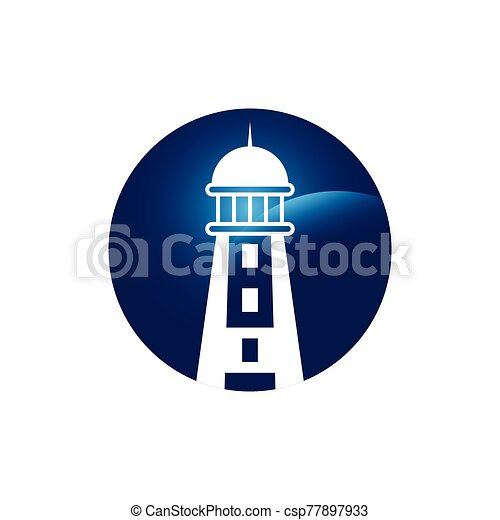 Lighthouse logo design template vector - csp77897933