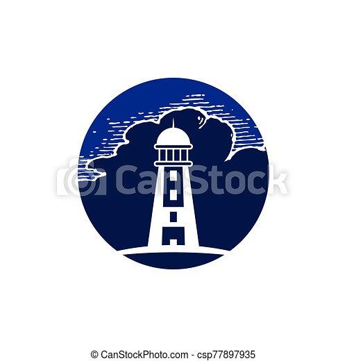 Lighthouse logo design template vector - csp77897935