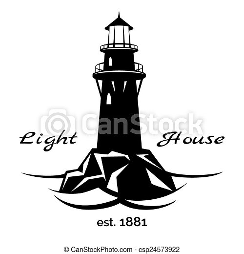 lighthouse logo for for maritime companies corporations and rh canstockphoto com Lighthouse Outline Lighthouse Clip Art Black and White