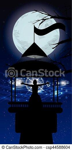 lighthouse man silhouette magic - csp44588604
