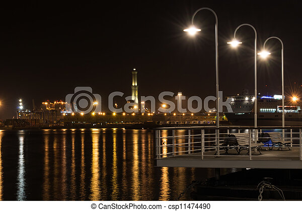 lighthouse of Genoa by night - csp11474490