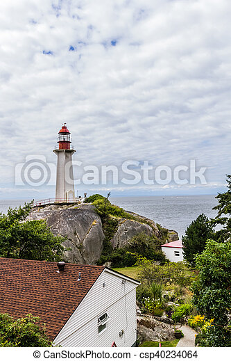Lighthouse on a cloudy day - csp40234064