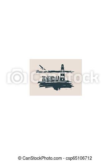 Lighthouse on brush stroke seashore - csp65106712