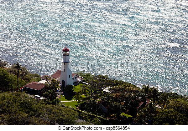 Lighthouse on coast of Waikiki in Hawaii - csp8564854