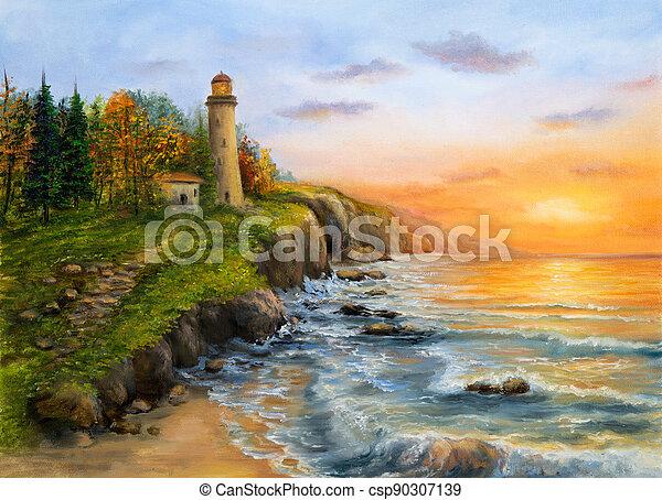 Lighthouse on sunset - csp90307139