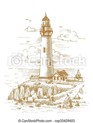 Lighthouse on the coast drawn by ha - csp33429403