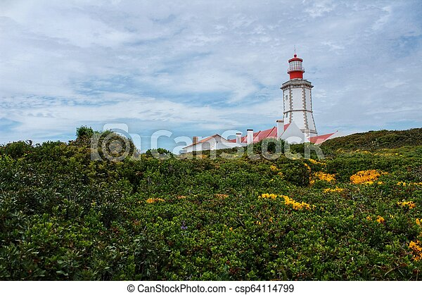 Lighthouse on top of cliff and surrounded by vegetation at Cape Espichel - csp64114799