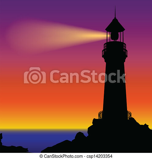 Lighthouse silhouette in sunset - csp14203354