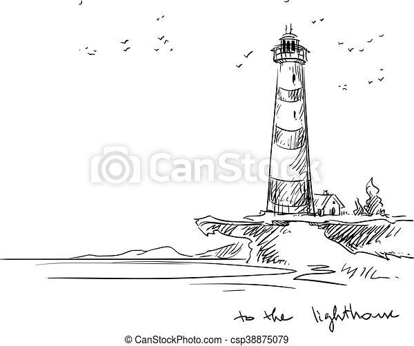 lighthouse sketch lighthouse vector sketch rh canstockphoto com Lighthouse Silhouette Clip Art Lighthouse Outline
