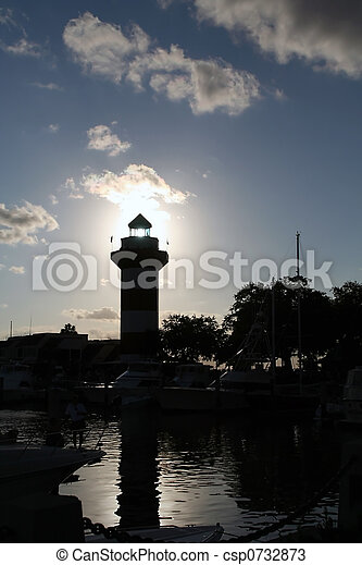 Lighthouse sunset - csp0732873