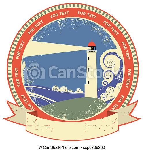 Lighthouse symbol.Vintage label on old paper texture - csp8709260