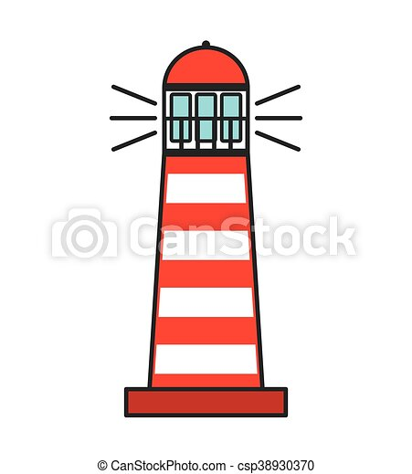 lighthouse tower guide icon - csp38930370