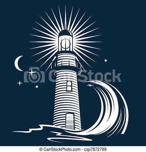 Lighthouse & Wave - csp7872789
