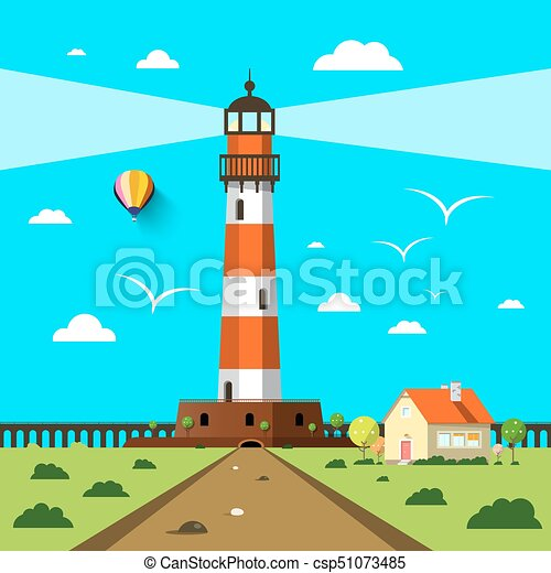 Lighthouse with House and Hot Air Balloon on Sunny Day - csp51073485