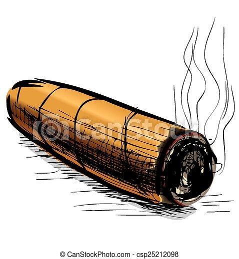 Lighting cigar sketch vector illustration - csp25212098