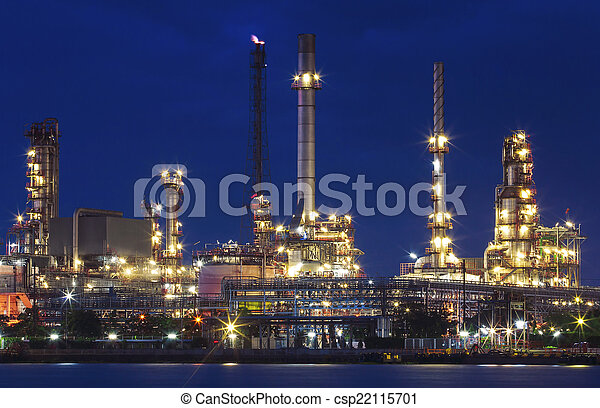 lighting of oil refinery plant in heavy industry estate against  - csp22115701