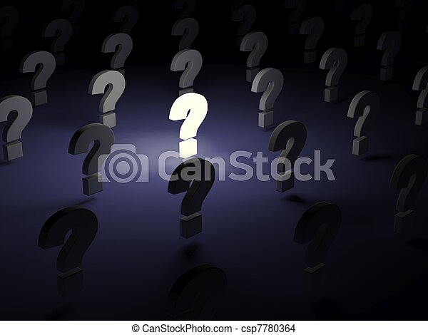 Lighting question sign over dark background - csp7780364