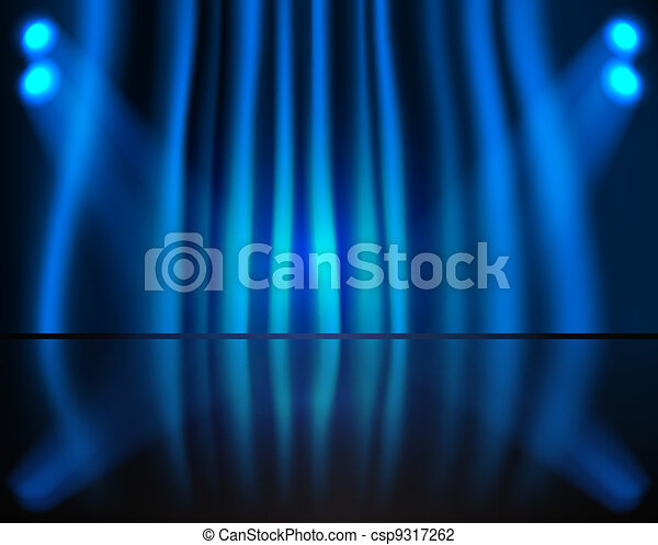 Lighting stage with blue curtain - csp9317262