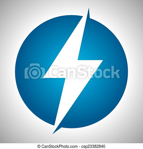 Lighting thunder sign in circle, illustration - csp23382840