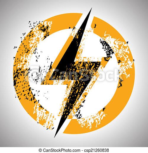 Lighting thunder sign in circle, illustration - csp21260838
