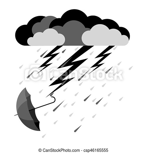 lightning and heavy rain falling umbrella from clouds clipart rh canstockphoto com
