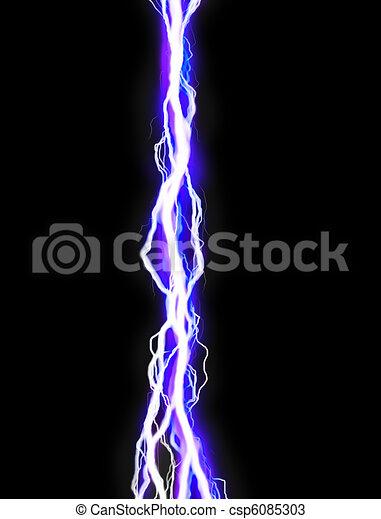 Lightning Bolt Poweful Illustration On Black