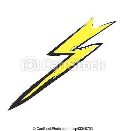 Lightning bolt hand drawn, vector icon - csp43348703
