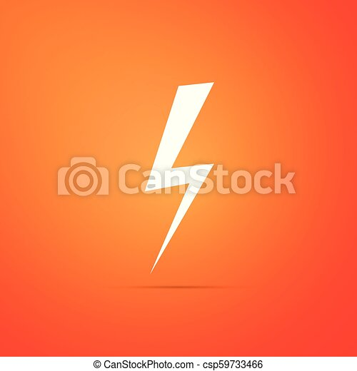 Lightning bolt icon isolated on orange background  Flash icon  Charge flash  icon  Thunder bolt  Lighting strike  Flat design  Vector Illustration