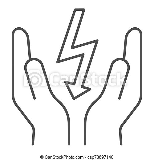 Lightning Bolt In Hands Thin Line Icon Save Electricity Vector Illustration Isolated On White Electrician Safety Outline