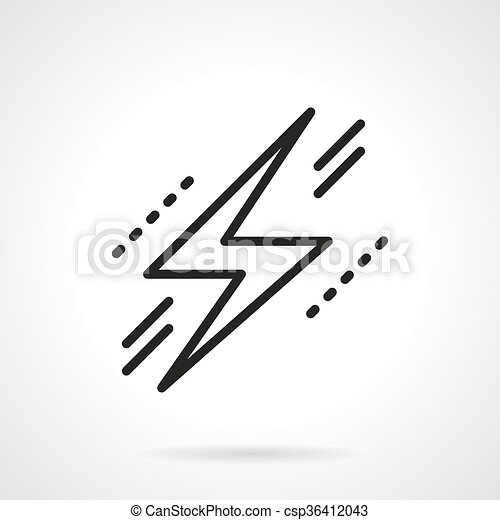 Lightning Bolt Symbol Black Line Vector Icon Zigzag Sign Flash Of Lightning Warning Of Dangers In Electricity Objects