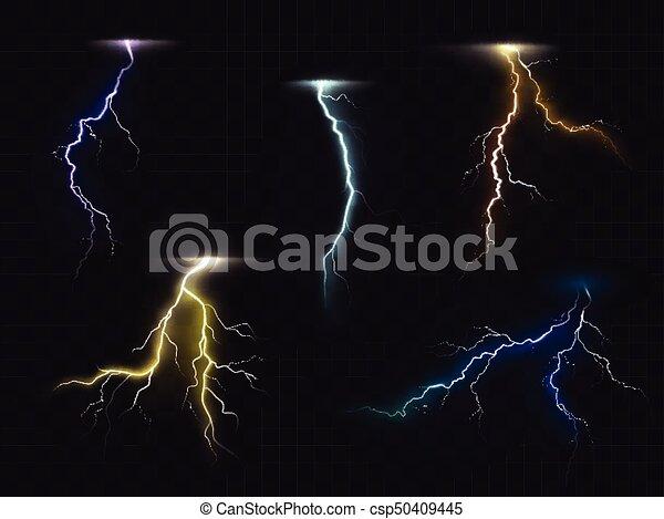 Lightning Flash Glowing Light Effects Vector Set Colored Lightning Bolt Vector Set On Transparent Background Electric